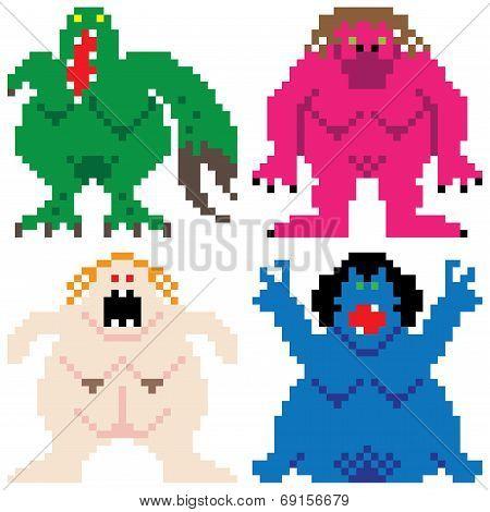 Worse Nightmare Terrifying Monsters Retro Computer Pixel Art