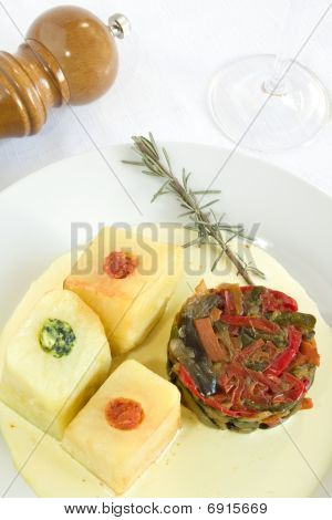 Ratatouille And Stuffed Potatoes.