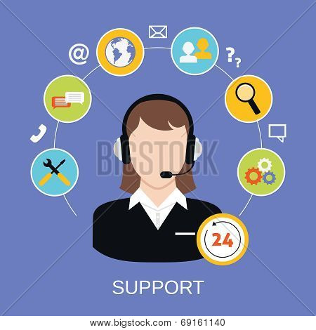 24h online worldwide available customer support helpdesk woman operator service concept vector illustration poster