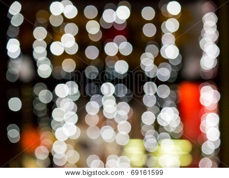 Abstract Background Of Blurred Lights Of Restaurant