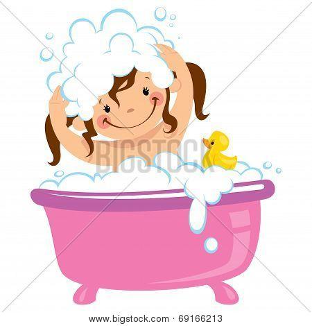 Baby Kid Girl Bathing In Bath Tub And Washing Hair