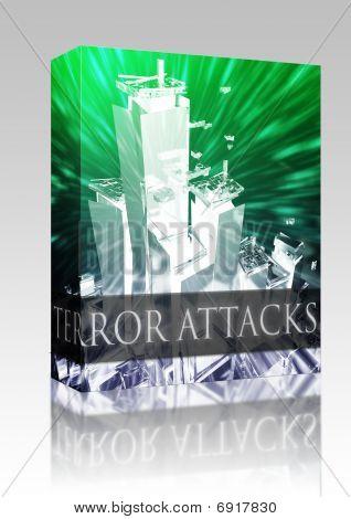 Software package box Terrorist terror attack Al Queda terrorism bombing concept illustration poster