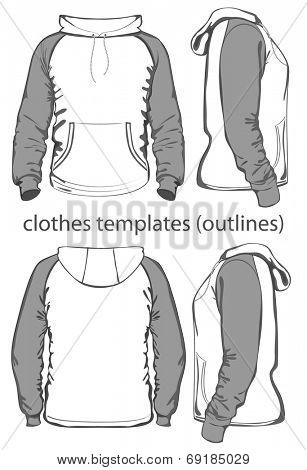Men's hooded sweatshirt with pocket (back, front and side views). Raglan sleeve. Outlines. Vector illustration.