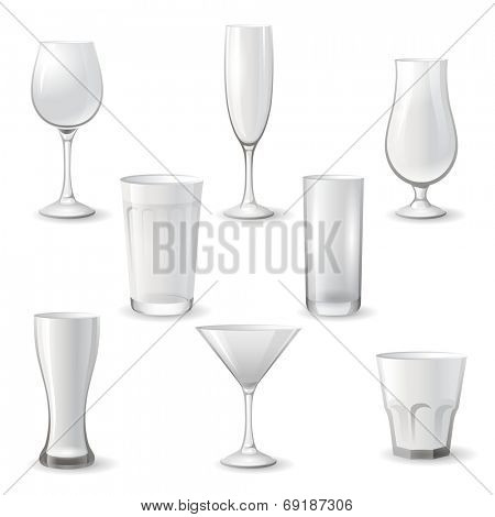 Empty drinking glass icon set