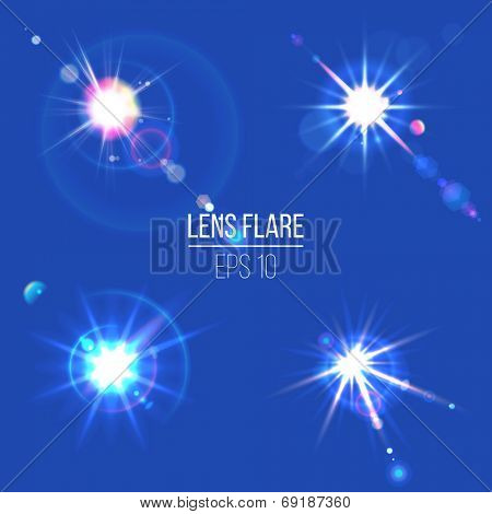 4 lens flare icons for your designs poster