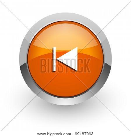 prev orange glossy web icon