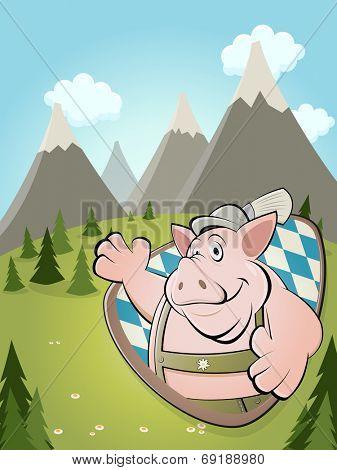 funny cartoon pig with idyllic background