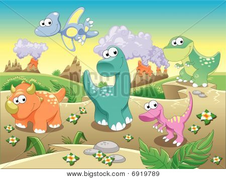Dinosaurs Family with background.