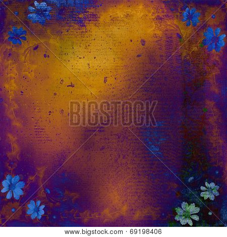 Abstract grunge background with bunch of flowers poster
