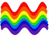 colorful wavy rainbow on white background illustration poster