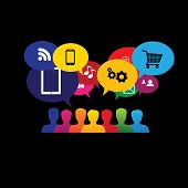 icons of consumers or users online in social media shopping - vector graphic. This graphic also represents social media communication internet shopping web chat social networking & interaction poster