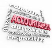 Accountability 3d word background with terms such as answerable, ownership, commitment, duty, obligation, reliability and responsibility poster