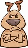Cartoon Illustration of Funny Dog Expressing Angry Mood or Emotion poster