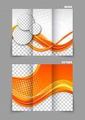 Orange wave abstract color tri-fold brochure template design poster