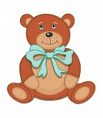 Cute plush toy teddy bear (vector illustration) poster