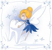 Vector cartoon of Tooth Fairy carrying a big tooth. File type: vector EPS AI8 compatible. Compatible gradients (radial and linear), no transparencies. poster