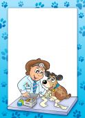 Frame with sick dog at veterinarian - color illustration. poster