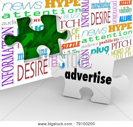 Advertise word on puzzle piece in front of hole in wall to illustrate the value or importance of advertising to market and sell your company, business, product or service