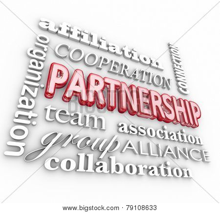 Partnership 3d word collage background with affiliation, organization, cooperation, team, association, alliance, group and collaboration