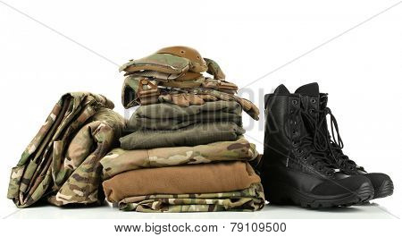 Army uniform, isolated on white poster