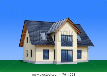 New, modern family house, isolated, path