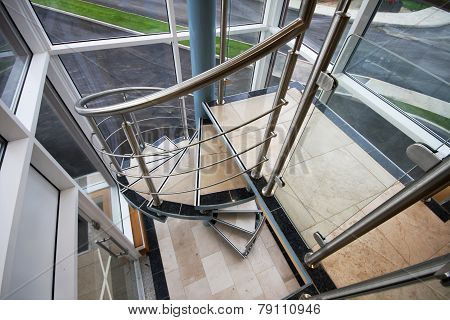 Stainless steel spiral staircase.