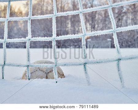 Snowy Soccer Field