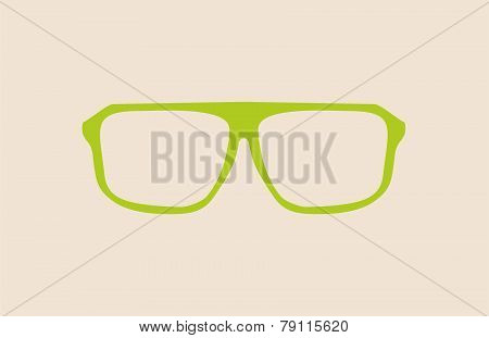 Green vector glasses with thick holder - retro hipster illustration isolated on beige background