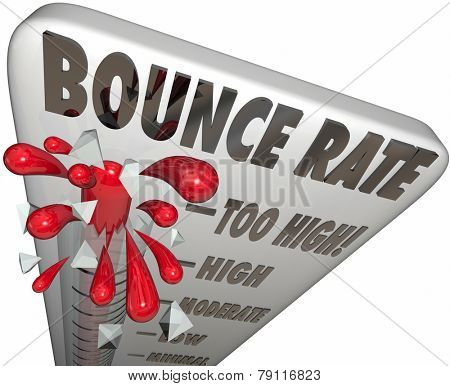 Bounce Rate words on a thermometer or gauge measuring the rate of abandonment as visitors or audience leaves your website or online page or resource