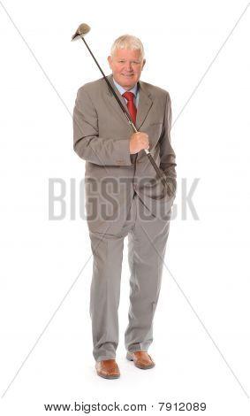 Successful Mature Businessman With Golf Club