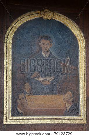 TRAVNIK, BOSNIA AND HERZEGOVINA - JUNE 11: Servant of God Peter Barbaric altarpiece in the church of St. Aloysius in Travnik, Bosnia and Herzegovina on June 11, 2014.