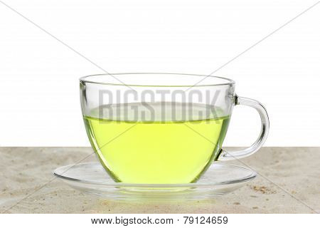 Green Tea In A Glass Cup