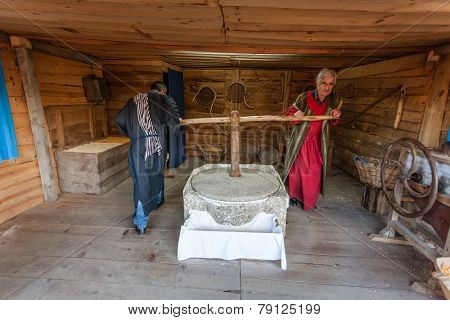 Priscos, Portugal. December 26, 2014: Depiction of the professions in the Holy Land. Built by the population, the live Nativity Scene and biblical village reenactment is the largest in Europe.