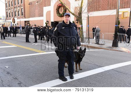 K9 officer outside Christ Tabernacle Church