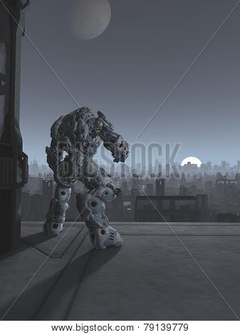 Future City - Robot Sentinel at Moon Rise