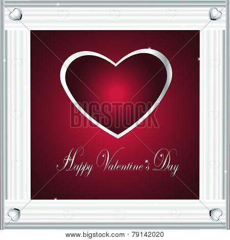 Valentine Vector-Burgandy & Silver Hearts 2