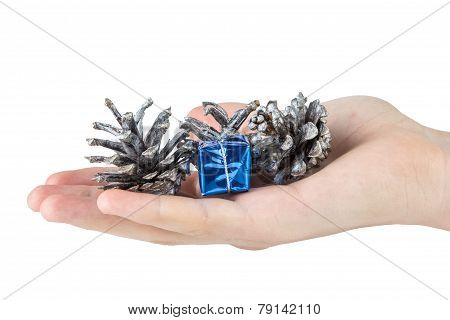 Blue gift in hand on a white background