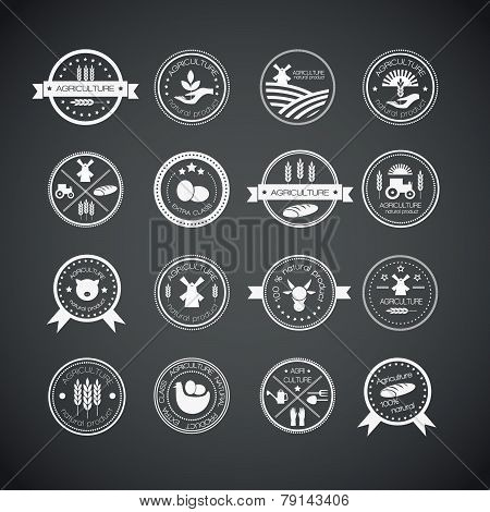 Set of vintage style elements for labels and badges for natural organic products biodynamic agriculture. Agriculture and farming logos. poster