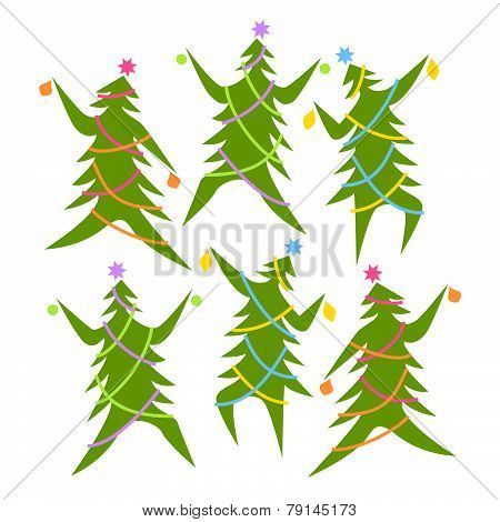 Dancing Christmas trees in a group