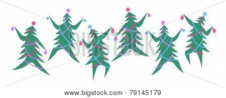 Dancing Christmas trees in a line