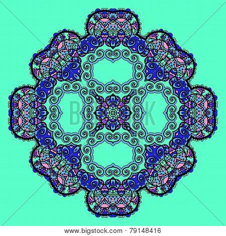 Trippy flower. Acid art. Oriental mandala over bright green color. Design element. poster