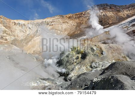 Fumarole, Brimstone Field In Crater Active Volcano Of Kamchatka