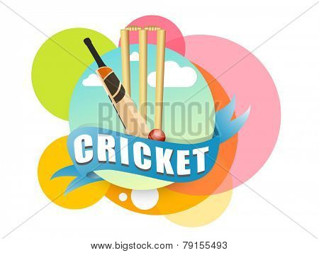 Colorful stickers with cricket bat, ball and wicket stumps on white background.
