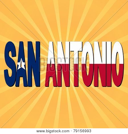 San Antonio flag text with sunburst illustration