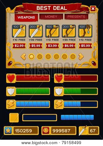 Medieval game GUI pack. Vector illustration
