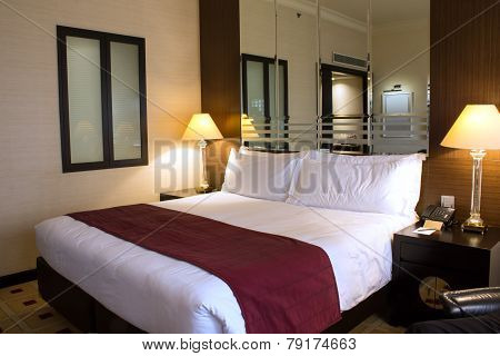 Singapore, August 10, 2014, Interior of a luxurious hotel guest room in a day time