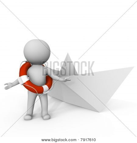 Human with life buoy and paper boat - 3d image