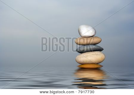 Pile Of Balanced Sand Stones Isolated