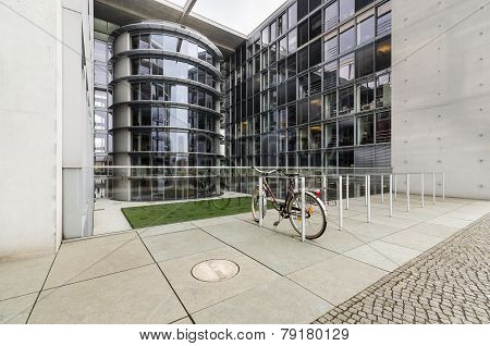 Paul Loebe Haus  Parliamentary Office Building In Berlin With Bike