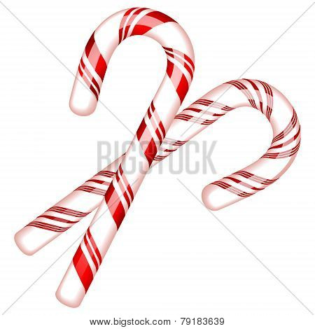 Vector illustration of two candy cane